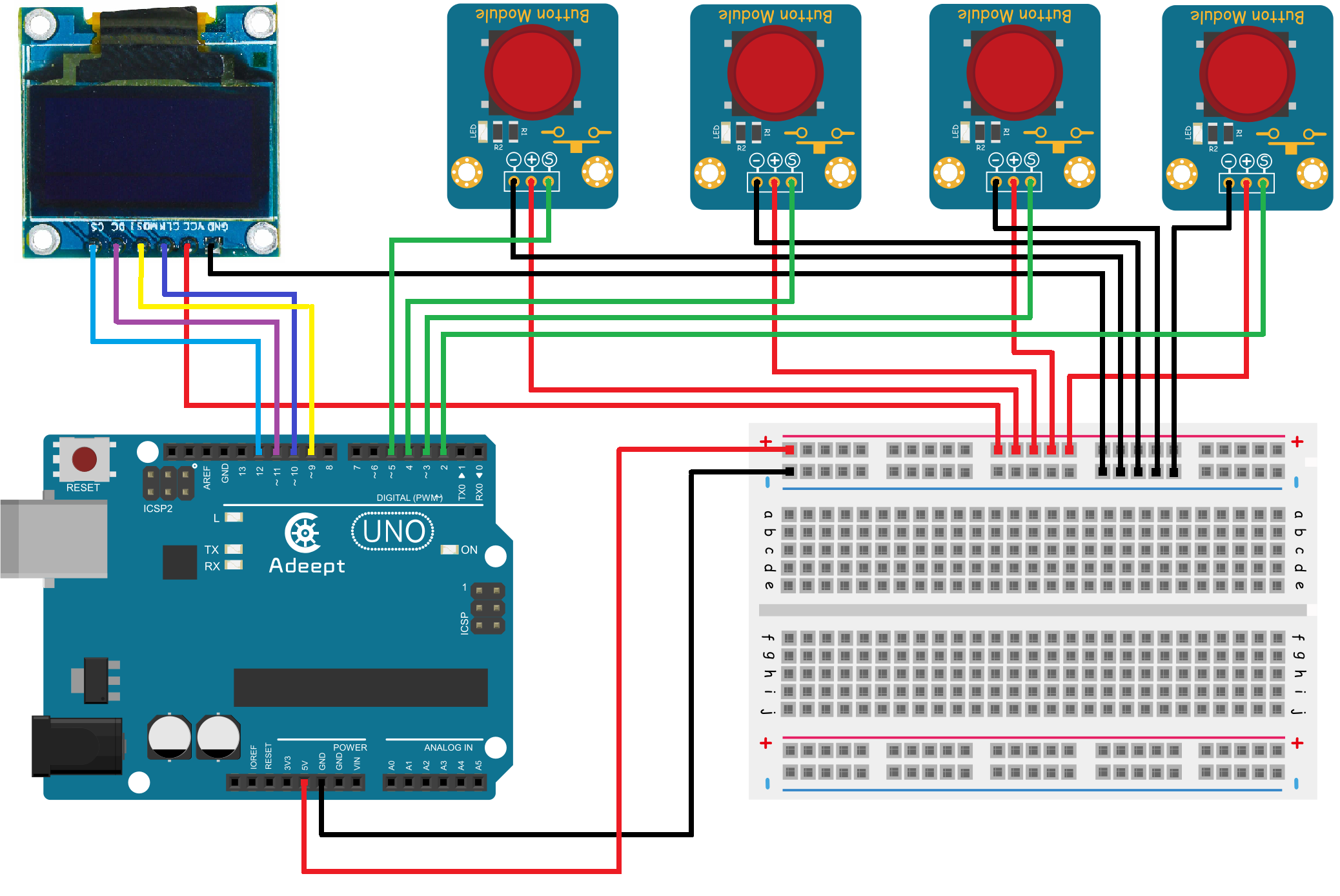 Arduino Oled Module Snake Game Step 1 Build The Circuit