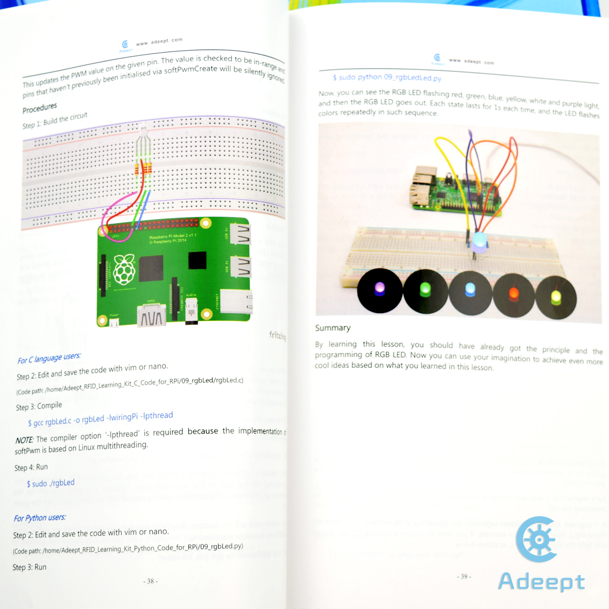 Adeept Rfid Starter Kit For Raspberry Pi 3 2 Model B Python With Wiringpi Pwm Led This Is An Learning Rc522 Module Some Common Electronic Components And Sensors Are Included