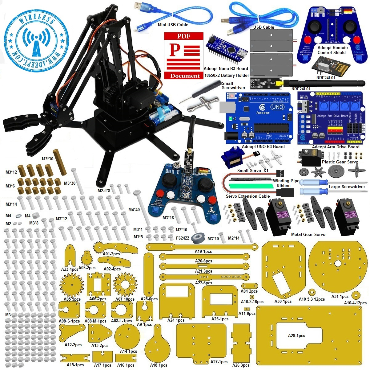 Adeept arduino compatible robotic arm kit based on