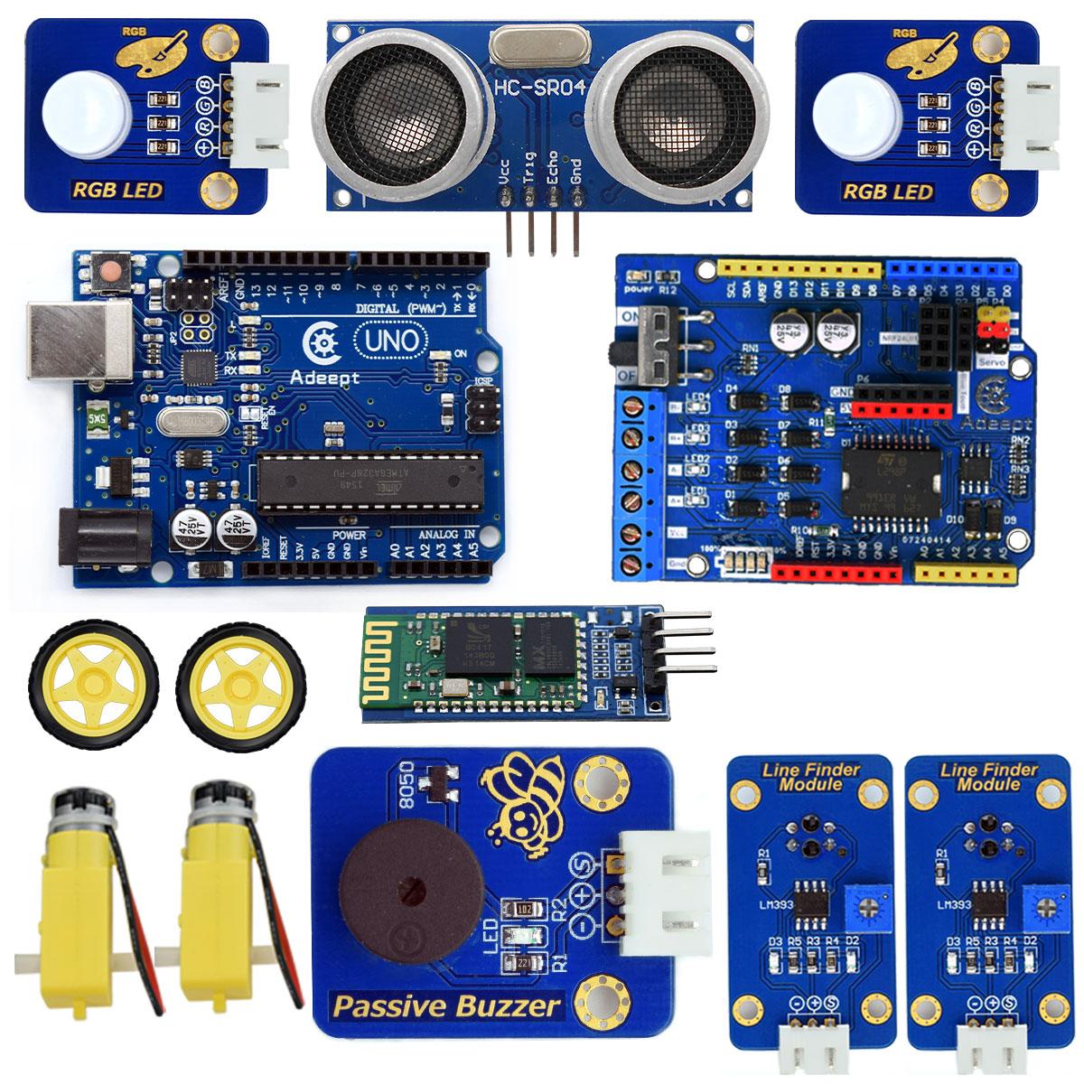 Adeept wd bluetooth smart robot car kit for arduino uno