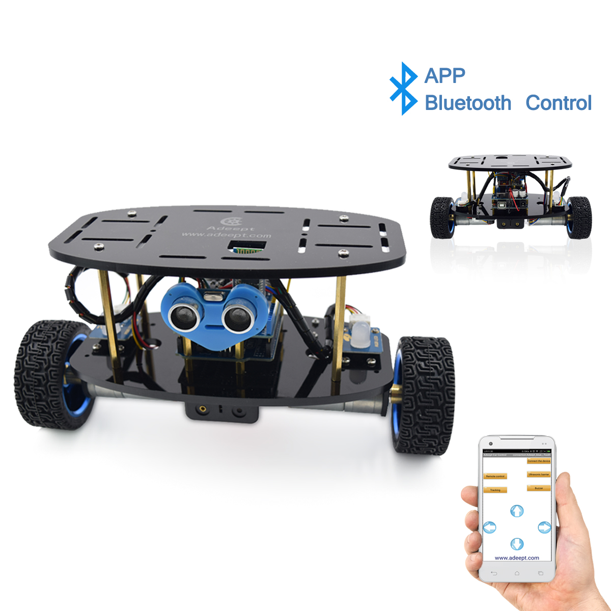Adeept 2-Wheel Self-Balancing Upright Car Robot Kit for Arduino UNO R3, MPU6050 Accelerometer Gyroscope Sensor + TB6612 Motor Driver
