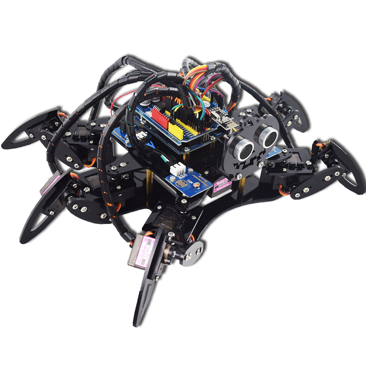 Adeept Hexapod 6 Legs Spider Robot Kit For Arduino Uno R3 And Nano Transformer Diagram Obstacle Avoidance Circuit Developed Based On This Simulates The Movements Of Leg Insects Via Programming In Ide Controlling 19 Servos
