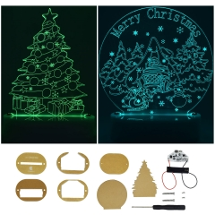 Adeept LED Optical Illusion Desk Night Light | DIY Colourful LED Christmas Tree Acrylic Light, Power with 1x AA Battery or Micro USB Cable