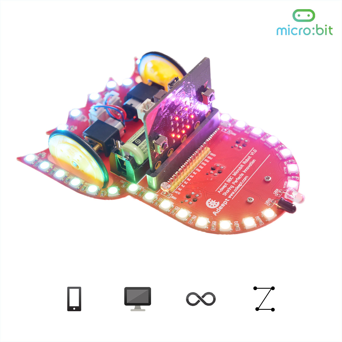 Adeept Starry:bit BBC Micro:bit Smart Robot Car Kit | Programmable STEM Educational Robot Kit with Detailed Projects Tutorial Book