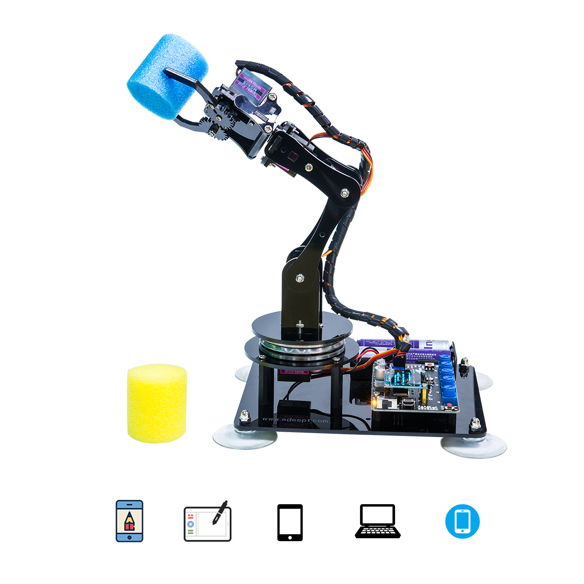 Adeept Arduino Compatible DIY 5-DOF Robotic Arm Kit for Arduino UNO R3 | STEAM Robot Arm Kit with Arduino and Processing Code