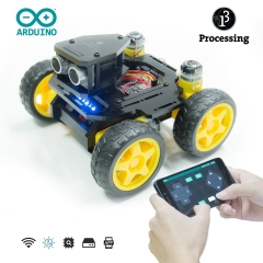 Adeept AWR-A 4WD Smart WiFi Robot Car Kit for Arduino UNO R3, Line Tracking, Ultrasonic Sensor, ESP8266 WiFi, DIY Robot Kit with Mobile APP