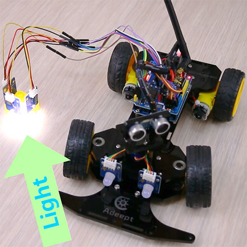 Control the moving direction of the 4-wheel smart car with photoresistor module