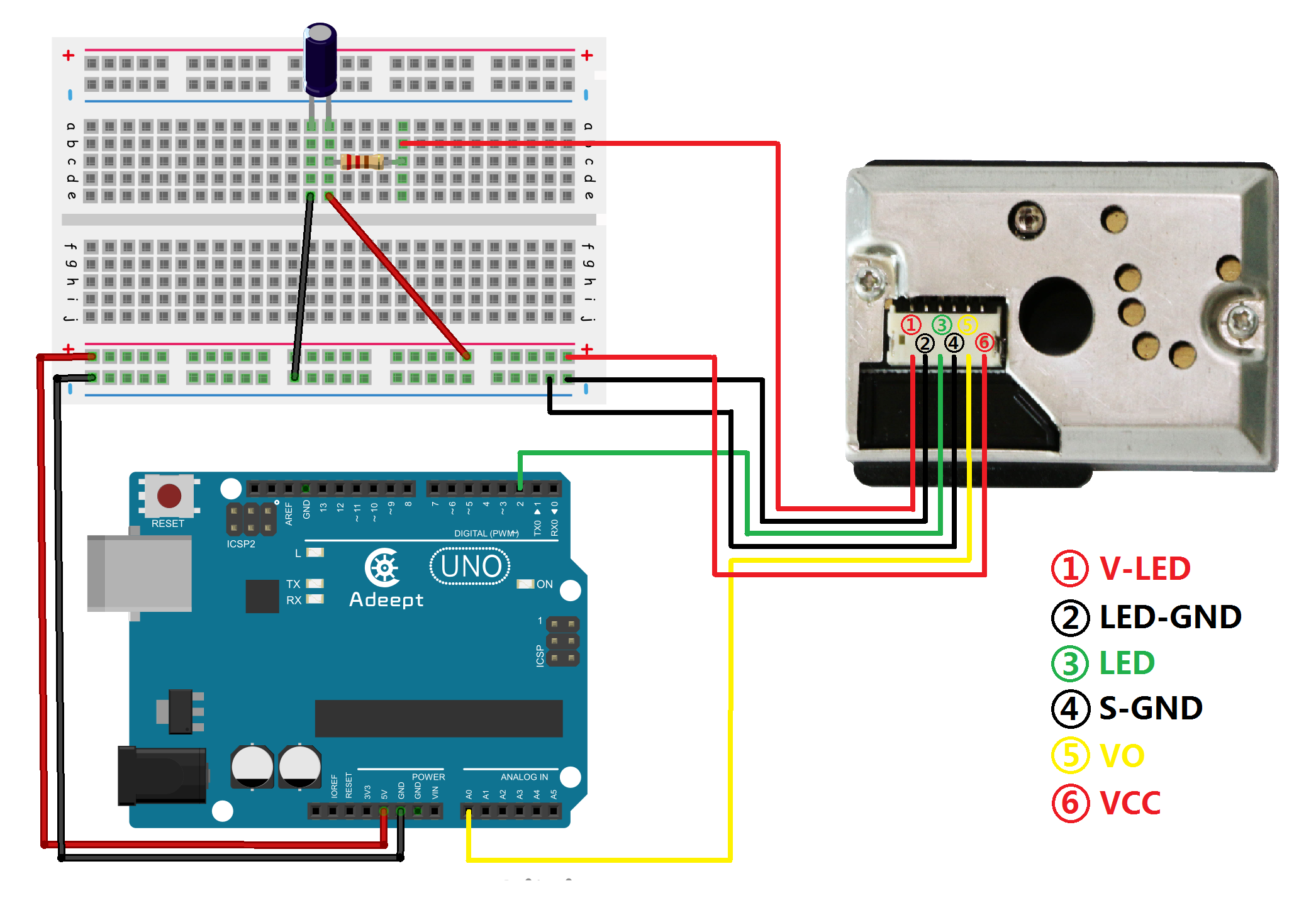 Arduino Pm25 Detector Adeept Step 1 Build The Circuit Experimental Procedures