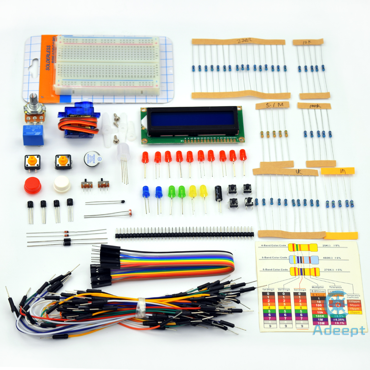 Adeept Project 1602 LCD Starter Kit for Arduino UNO R3 Mega2560 Nano Servo  Relay LCD1602 Beginner/Starter Kit for Arduino with PDF Guidebook