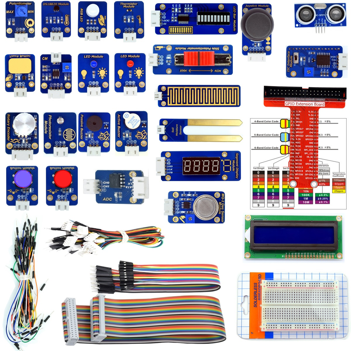 Adeept 24 Modules Sensor Kit for Raspberry Pi 3,2 B/B+, DS18b20, Robot  Projects Starter Kit with Tutorials, C and Python Code, PDF Guidebook
