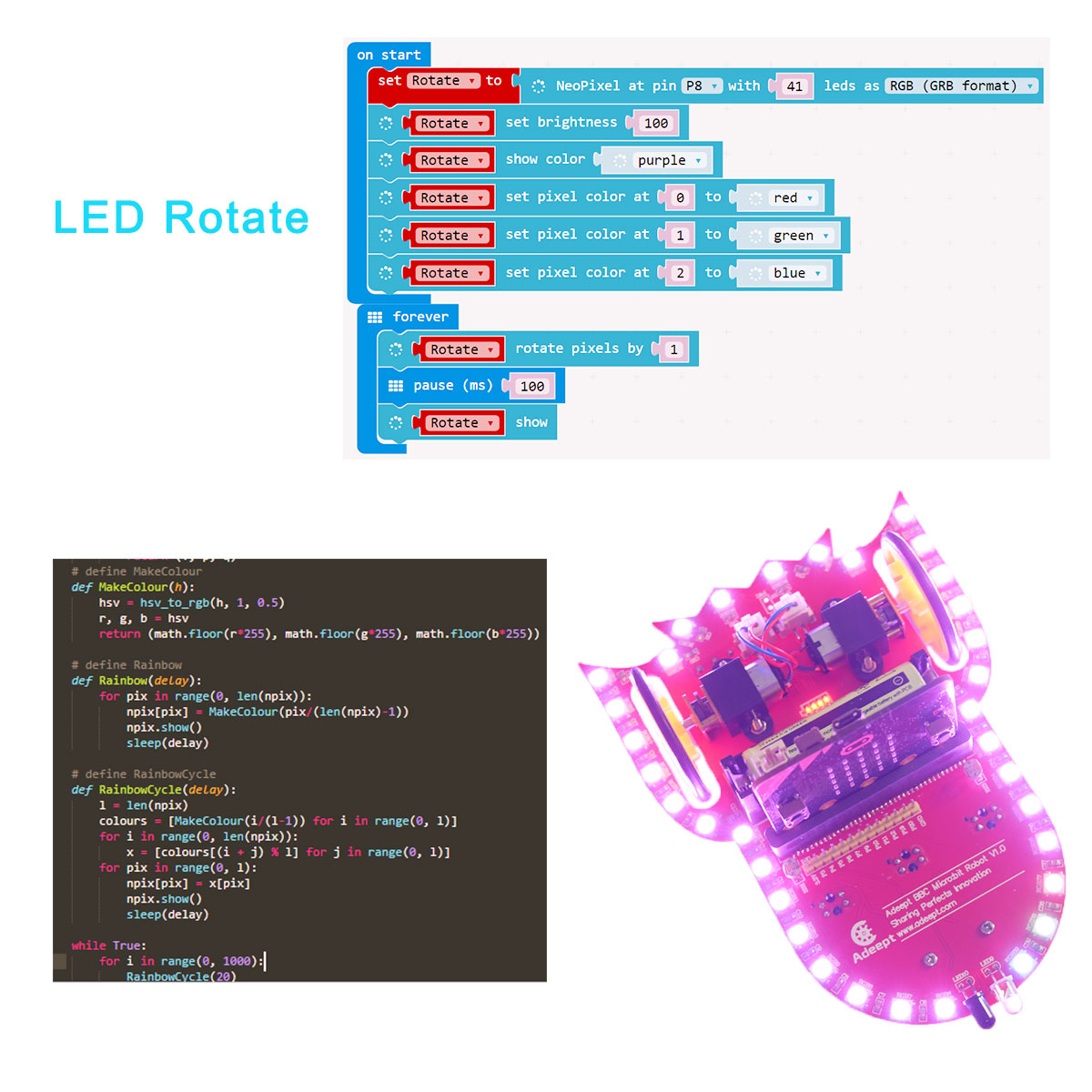 Adeept Starry:bit BBC Micro:bit Smart Robot Car Kit   Programmable STEM  Educational Robot Kit with Detailed Projects Tutorial Book