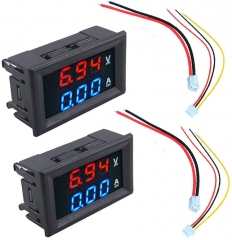 "2pcs 0.56"" Digital Voltmeter Ammeter DC 100V 10A Amp Voltage Current Meter Tester 0.56 Inch 3 Bits Blue + Red Dual LED Display Panel with Connect Wir"